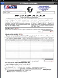 Déclaration de valeur Blondeau